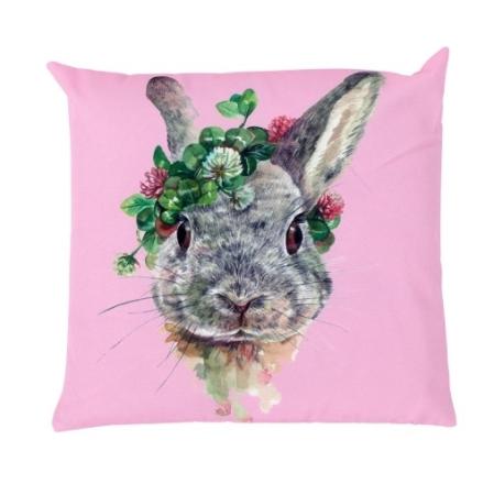 Outdoor-Kissen Hase mit Blumenkranz rosa grau 45 x 45 cm