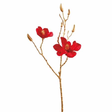 Kunst Magnolienzweig rot 69 cm Glitter