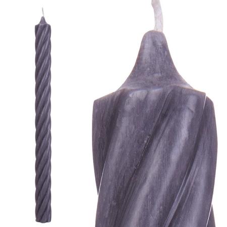 Stabkerze Spitzkerze gedreht grau anthrazit