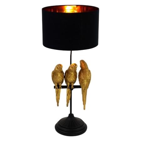 Tischleuchte mit 3 Papageien gold schwarz