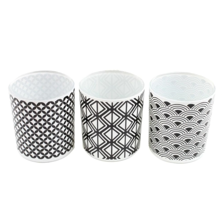 "3-er Set Teelichglas ""black meets white"""